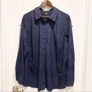 TALBOTS Navy Blue With White Dot Button Up Blouse